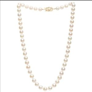 Mikimoto 14k gold and diamond pearl necklace